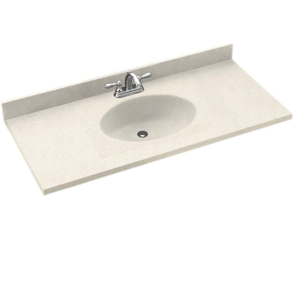 Swanstone Chesapeake 55 in. W Solid Surface Vanity Top in Bisque with Bisque Basin