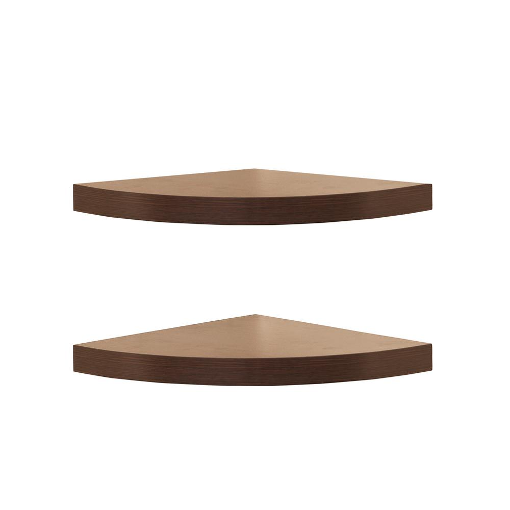 11.5 in. x 11.5 in. Walnut Laminate Corner Radial Shelves (Set