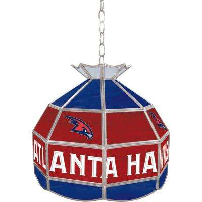 Atlanta Hawks NBA 16 in. Nickel Hanging Tiffany Style Lamp