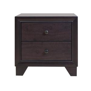 Amelia 2-Drawer 22 in. x 16 in. x 22 in. Espresso Rubber Wood Nightstand