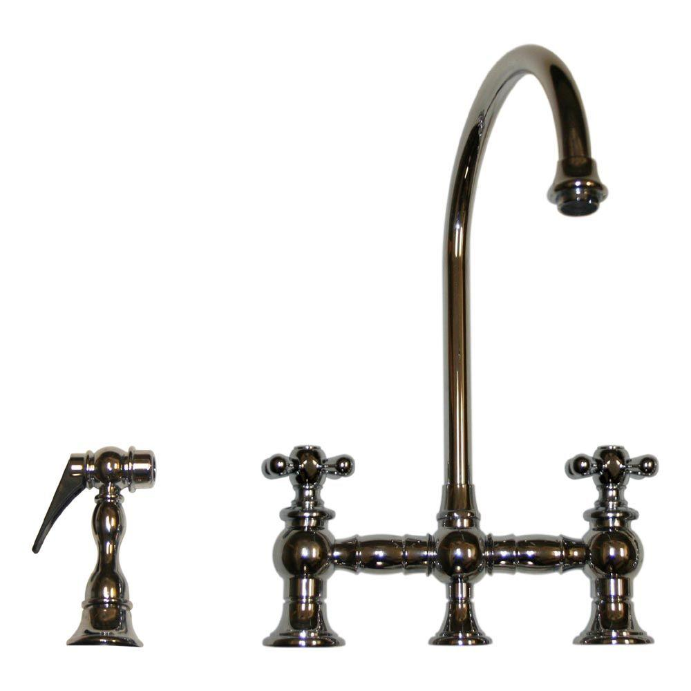 Whitehaus Collection Vintage III 2-Handle Side Sprayer Kitchen Faucet in Polished Chrome