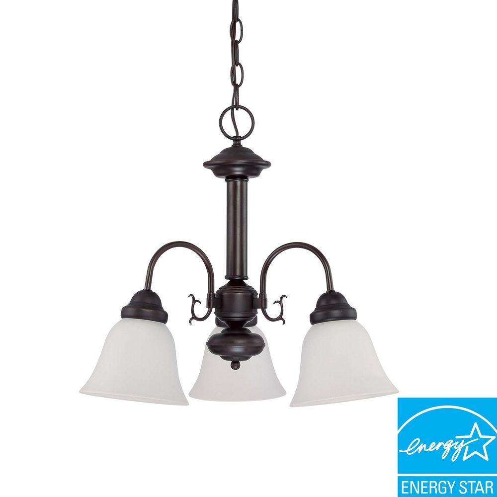 3-Light Mahogany Bronze Fluorescent Ceiling Chandelier