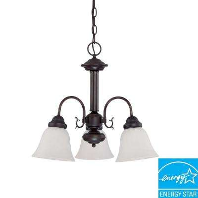 3-Light Mahogany Bronze Fluorescent Ceiling Chandelier