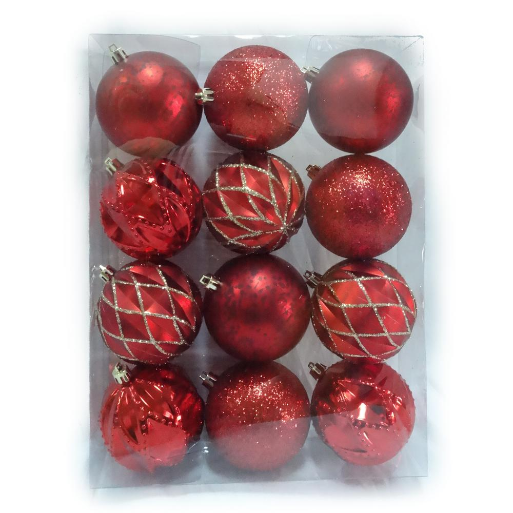 home accents holiday 80 mm shatterproof ornaments in red and gold 12 count