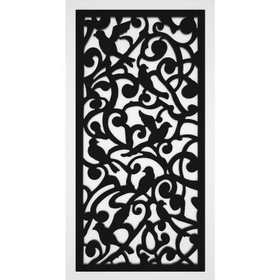 Dove 2 ft. x 4 ft. Black Vinyl Decorative Screen Panel (Pack of 2)