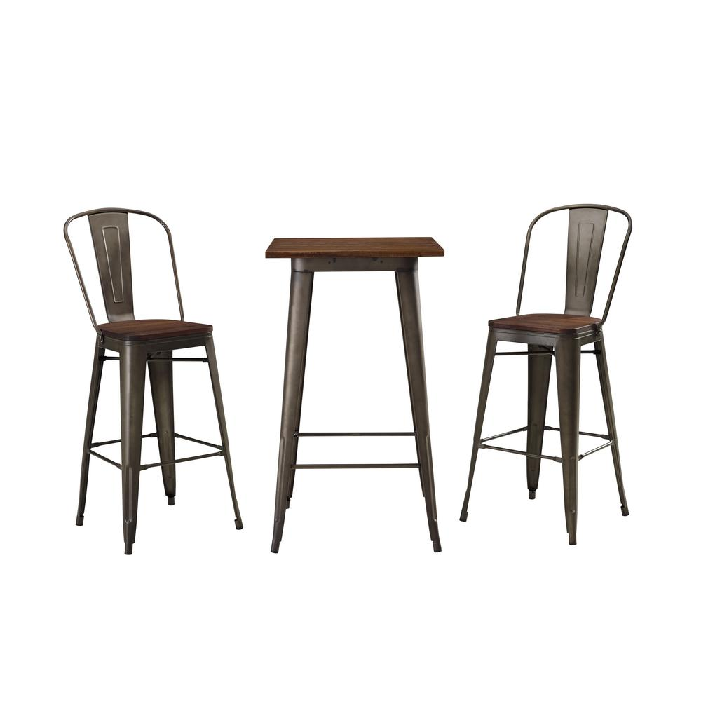 Walker Edison Furniture Company Cafe Olive And Brown 3 Piece Metal And Wood Outdoor Bistro Set