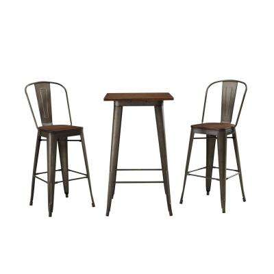 Cafe Olive and Brown 3-Piece Metal and Wood Outdoor Bistro Set