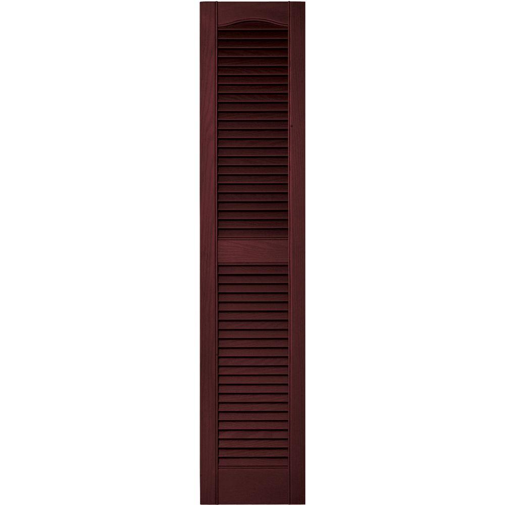 Builders Edge 12 in. x 55 in. Louvered Vinyl Exterior Shutters Pair in #078 Wineberry