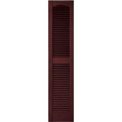 12 in. x 55 in. Louvered Vinyl Exterior Shutters Pair in #078 Wineberry