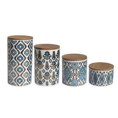 4-Piece Gold/Blue Ceramic Canister Set with Lid