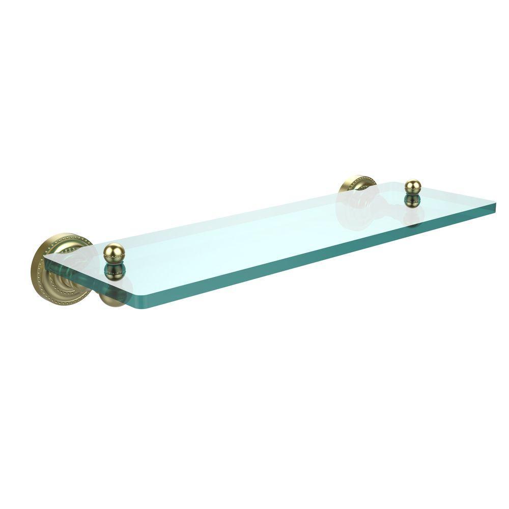 Dottingham 16 in. L  x 3 in. H  x 5 in. W Single Clear Glass Bathroom Shelf in Satin Brass
