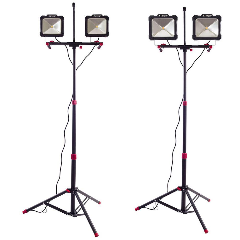All Pro 5000 Lumen 2 Head Led Stand Work Light Wlt5040lst: Husky 5000 Lumen Twin-Head LED Work Light And 7000 Lumen