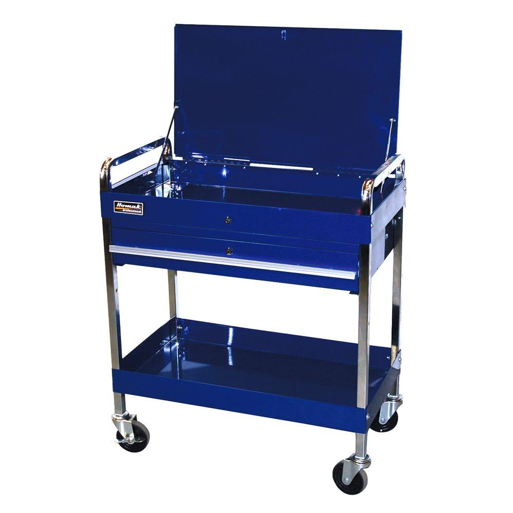 Homak Professional 32 in. 1-Drawer Utility Service Cart in Blue