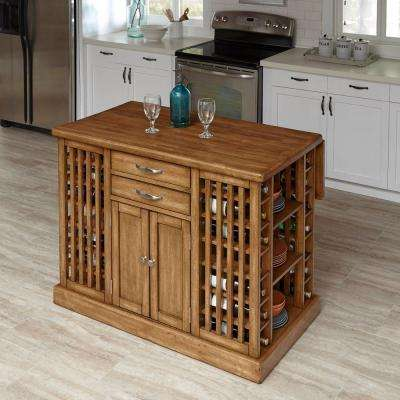 Vintner Warm Oak Kitchen Island With Storage