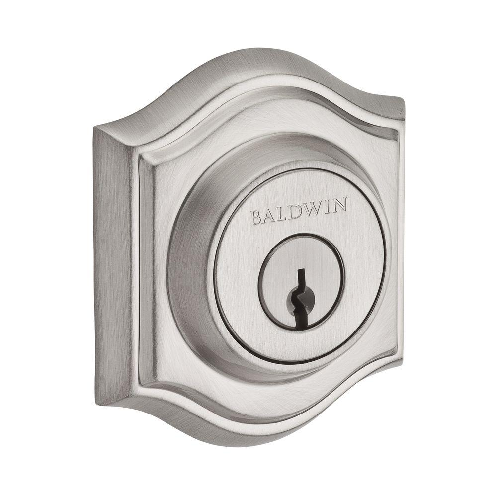 Reserve Traditional Single Cylinder Satin Nickel Arch Deadbolt