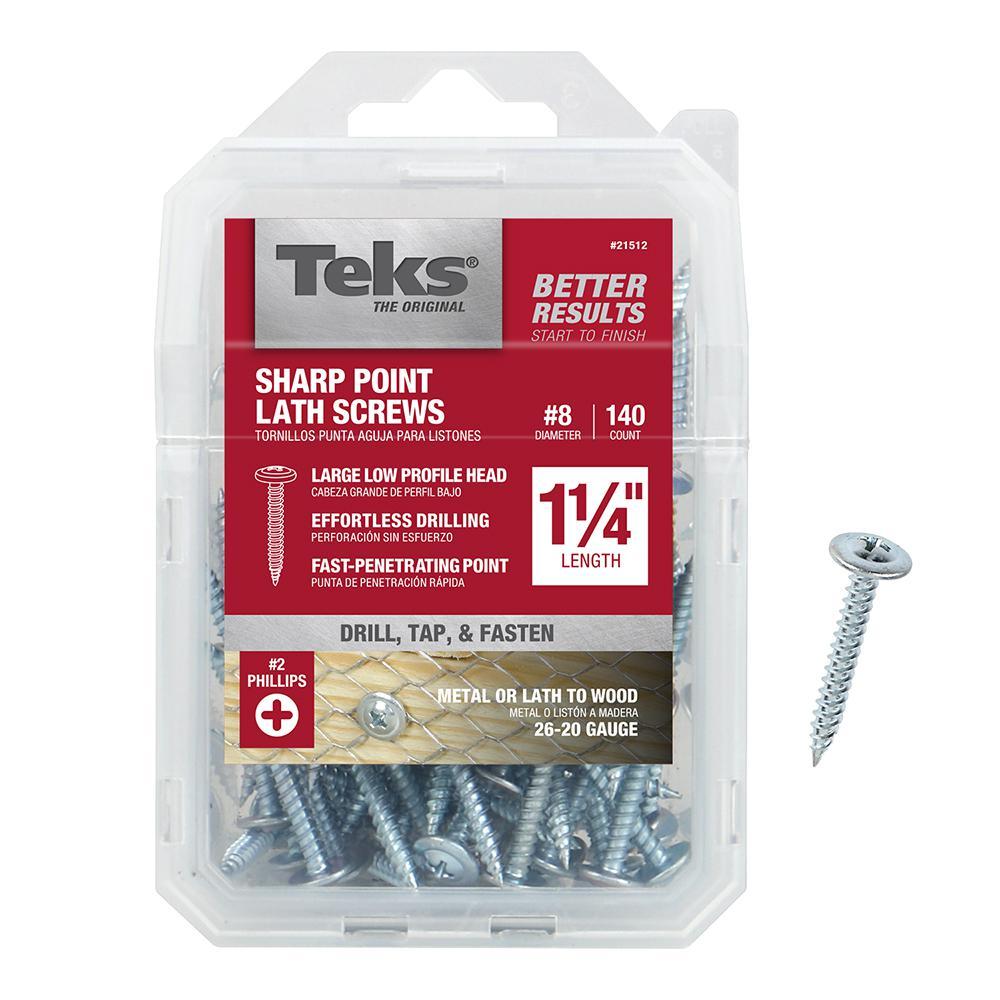 Teks #8 x 1-1/4 in. Phillips Fine Zinc-Plated Steel Truss-Head Sharp Point Lath Screws (140-Pack)