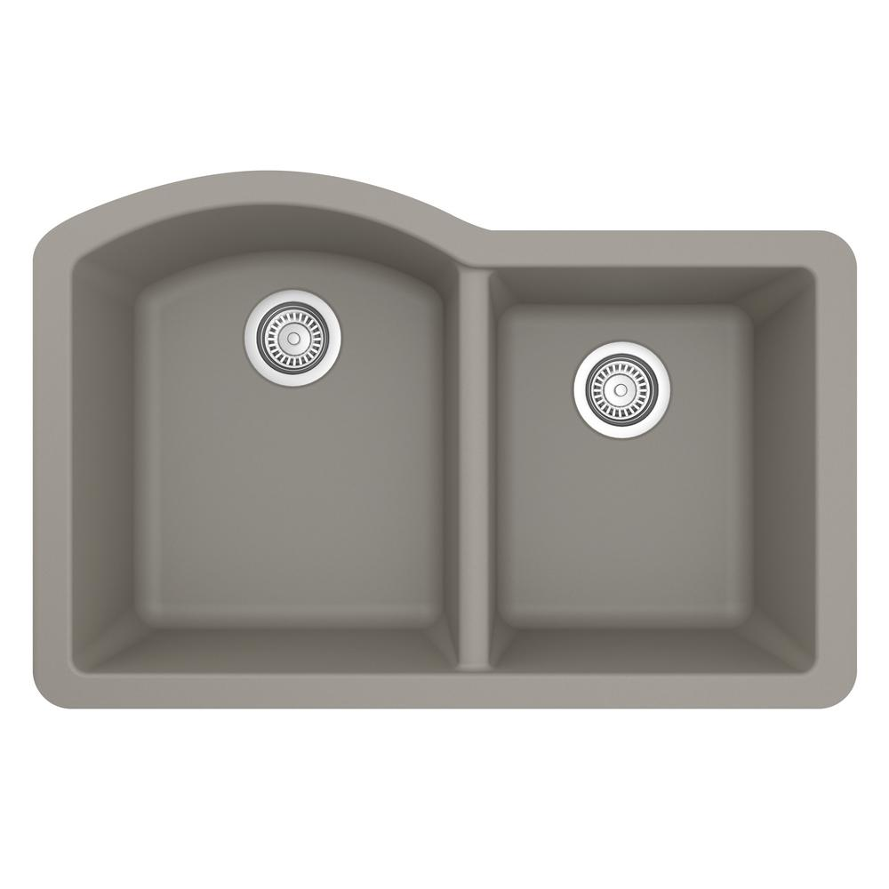 Karran Undermount Quartz Composite 32 in. 60/40 Double Bowl Kitchen Sink in Concrete