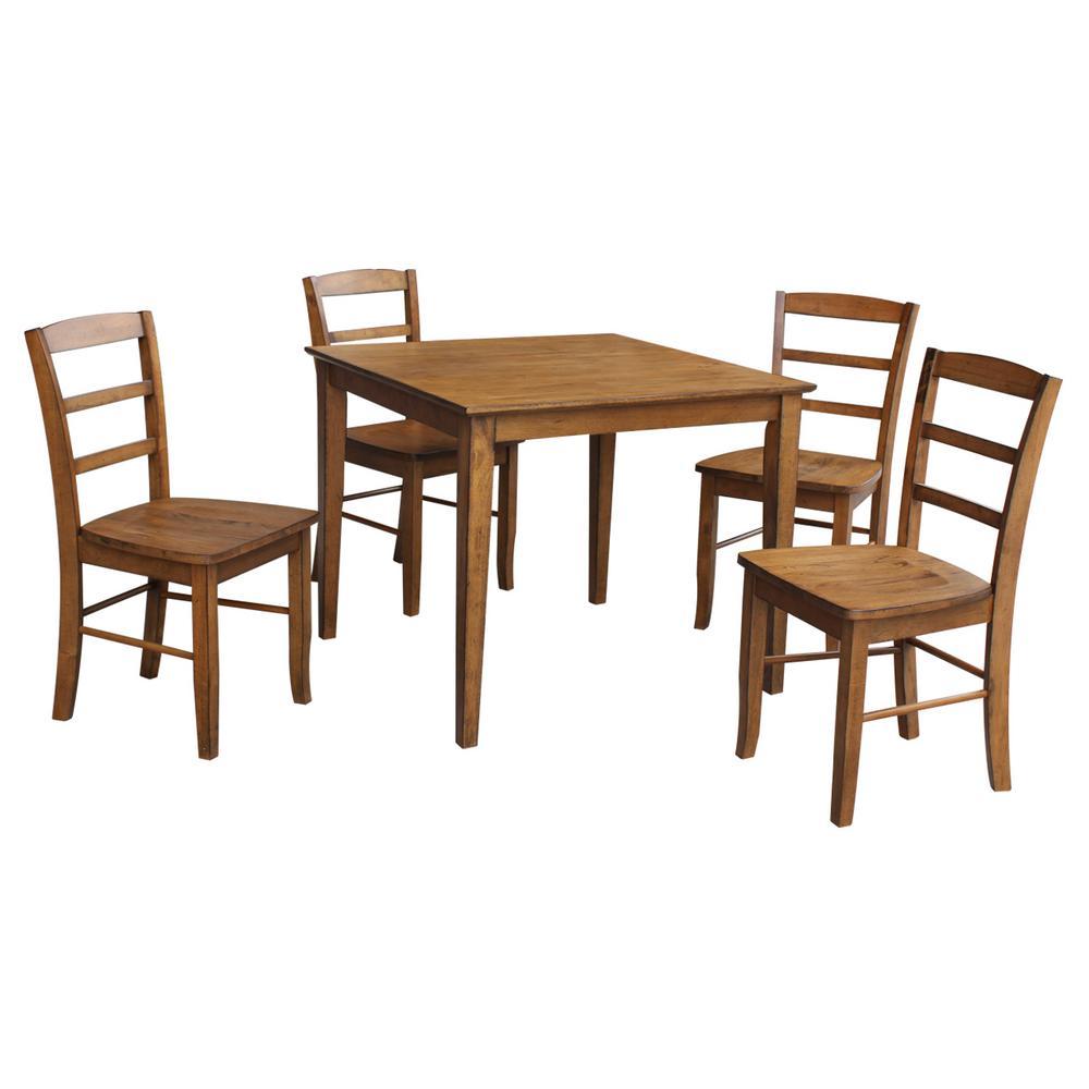 Dining Essentials 5-Piece Distressed Pecan Solid Wood Set