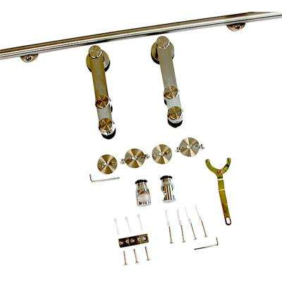 80 in. Stainless Steel Round Sliding Barn Door Hardware with Floor T-Guide