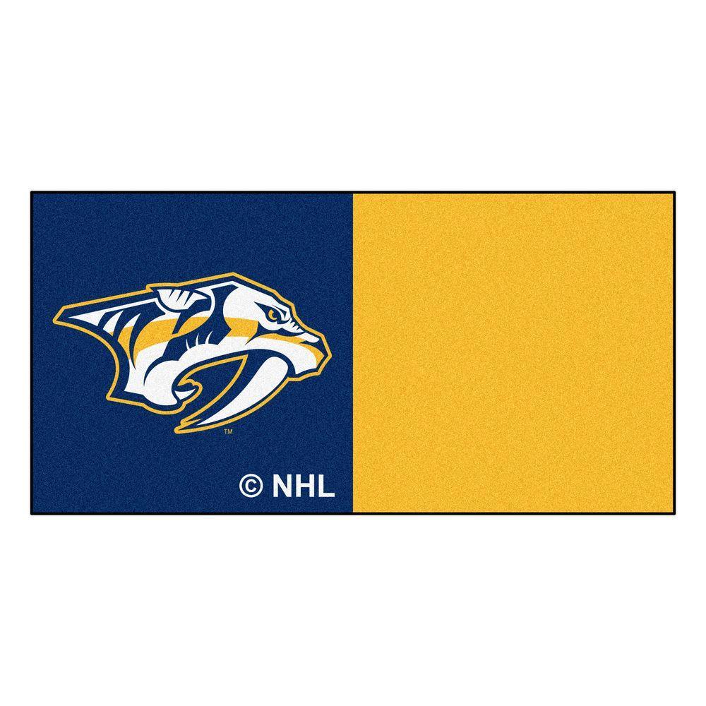 FANMATS NHL - Nashville Predators Blue and Yellow Pattern 18 in. x 18 in. Carpet Tile (20 Tiles/Case)