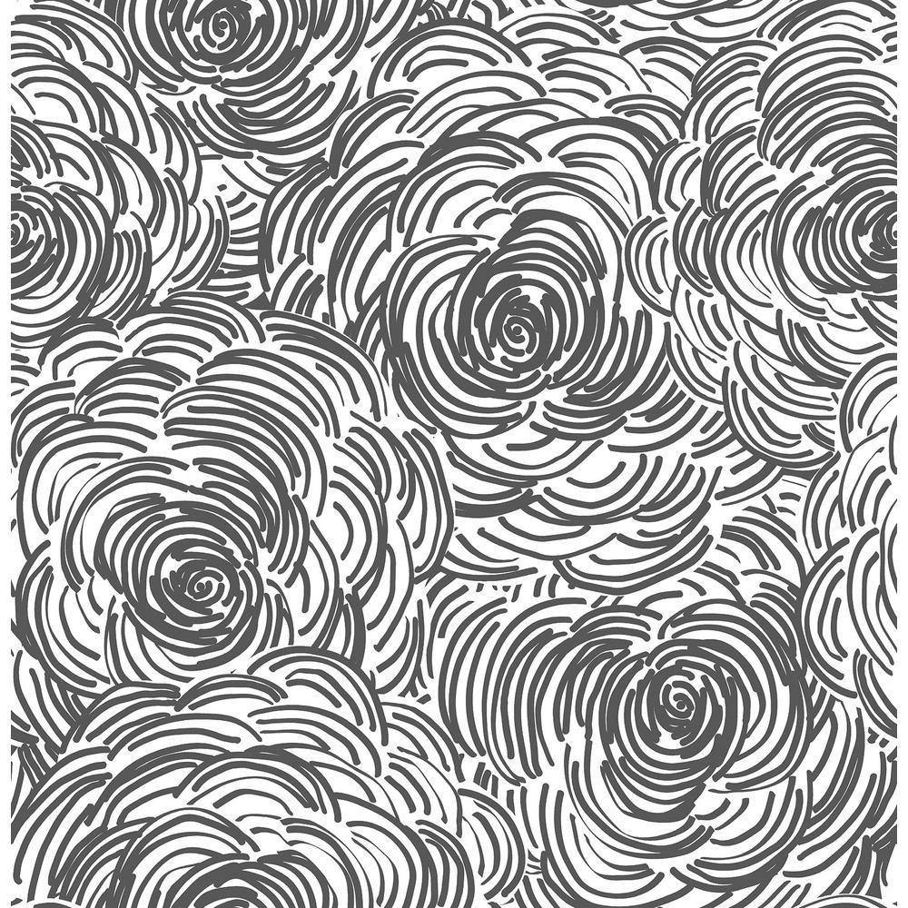 Winter, Celestial Black Floral Wallpaper