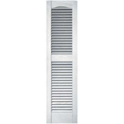 12 in. x 48 in. Louvered Vinyl Exterior Shutters Pair in #117 Bright White