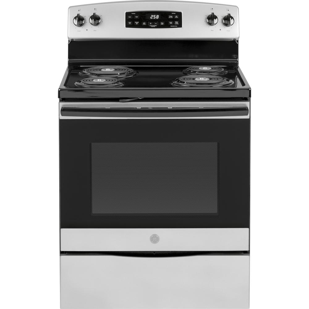 GE 30 in. 5.3 cu. ft. Electric Range with Self-Cleaning Oven in Silver
