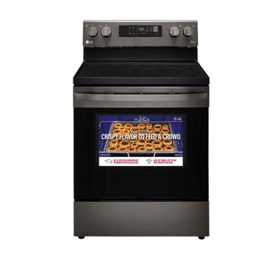 6.3 cu. ft. Smart Fan Convection Electric Oven Range with Air Fry and EasyClean in PrintProof Black Stainless Steel