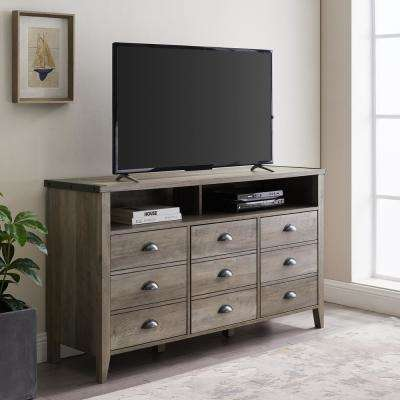 Grey Wash Industrial Farmhouse TV Console for TV's up to 56 in.