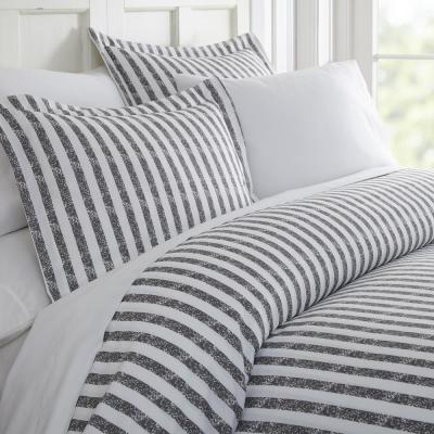 Rugged Stripes Patterned Performance Gray Queen 3-Piece Duvet Cover Set