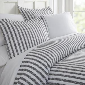 Rugged Stripes Patterned Performance Gray King  Microfiber 3-Piece Duvet Cover Set