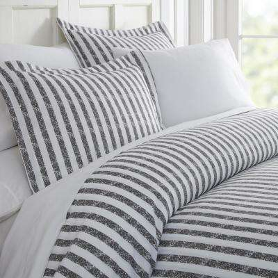 Rugged Stripes Patterned Performance Gray King 3-Piece Duvet Cover Set