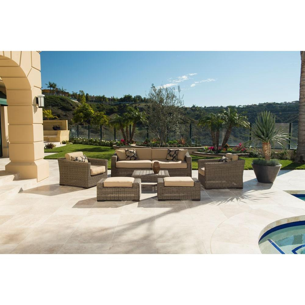 RST Brands Resort Weathered Grey 8-Piece Patio Seating Set with Heather Beige Cushions
