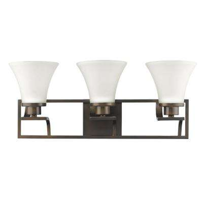 Mia 3-Light Oil-Rubbed Bronze Vanity Light with Etched Glass Shades