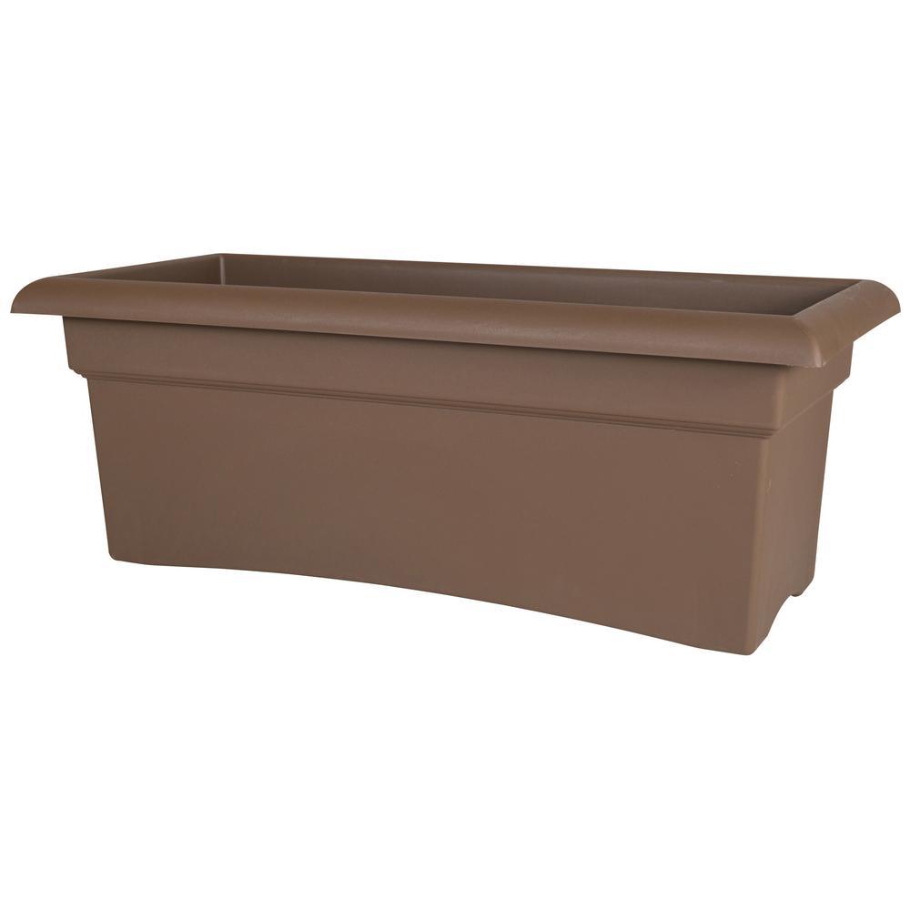 Veranda 26 in. Chocolate Plastic Deck Window Box Planter