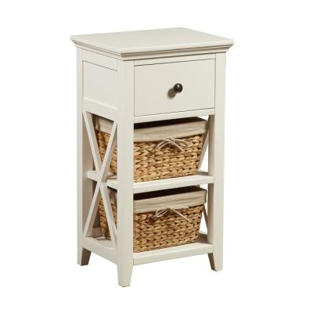 Basket Bathroom Storage Wood Cabinet in White