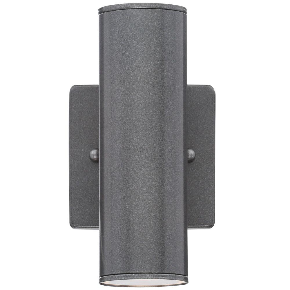 Eglo Riga 2-Light Anthracite Outdoor Cylinder Wall Light-84003A - The Home Depot