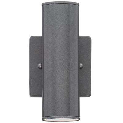 Riga 2-Light Anthracite Outdoor Cylinder Wall Light