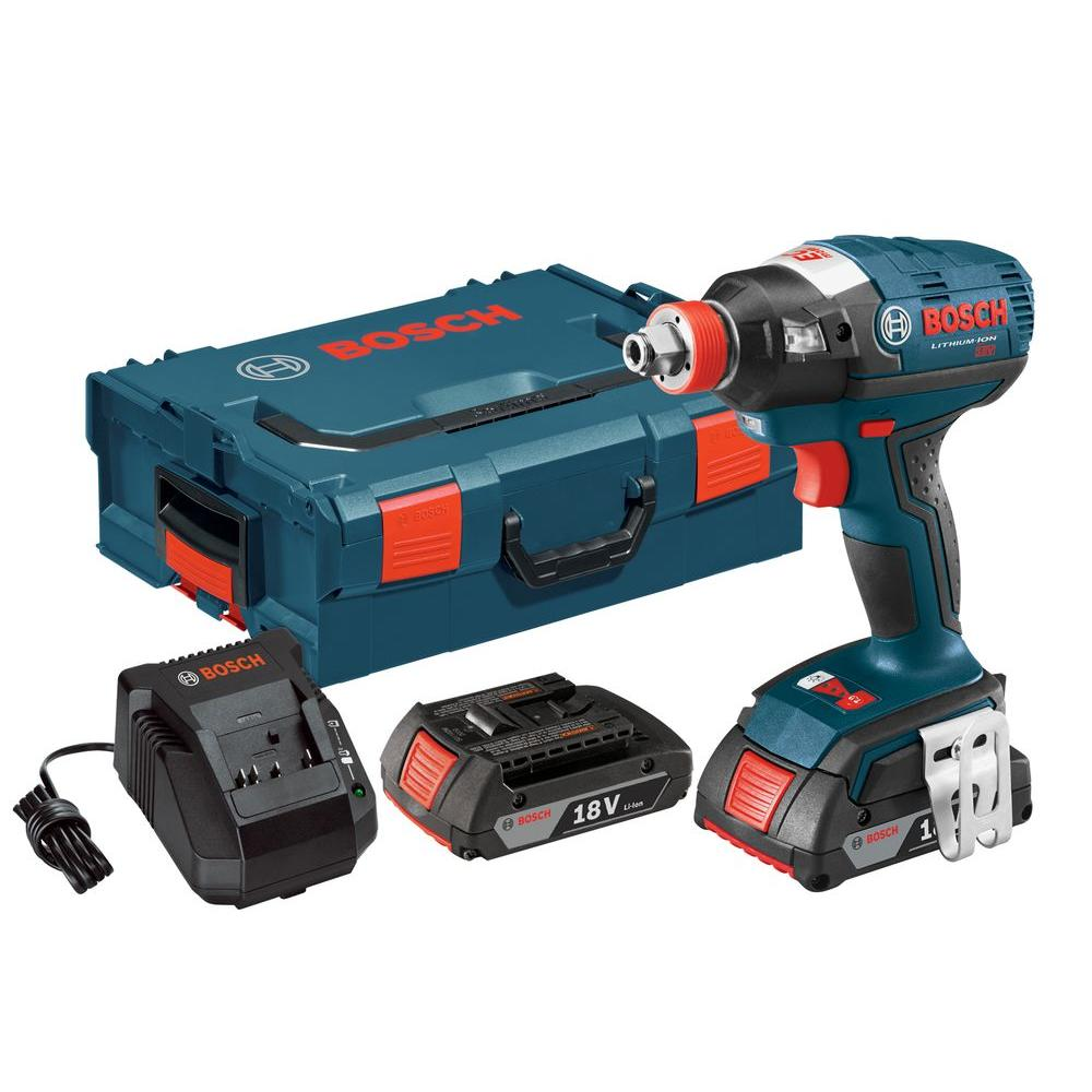 Bosch 18 Volt Lithium-Ion Cordless 1/4 in. Hex and 1/2 in. Square Drive EC Brushless Socket-Ready Impact Kit