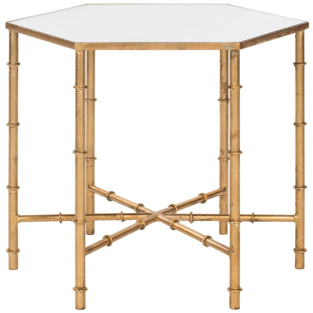 Safavieh Kerri Gold Mirrored Top End Table