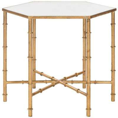 Kerri Gold Mirrored Top End Table