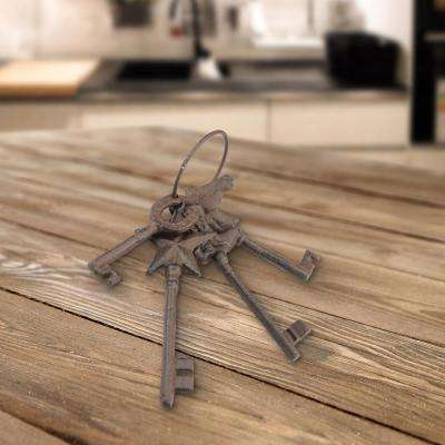 3 in. x 10 in. Weathered Rust Cast Iron Western Key Set