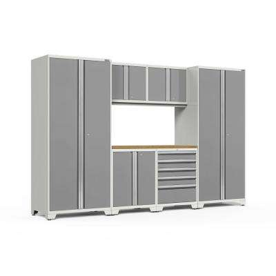 Pro Series 128 in. W x 85.25 in. H x 24 in. D 18-Gauge Welded Steel Garage Cabinet Set in Platinum (7-Piece)