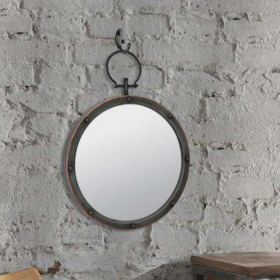 21 in. x 16 in. Brown Metal Mirror with Hanging Ring and Rivet Trim