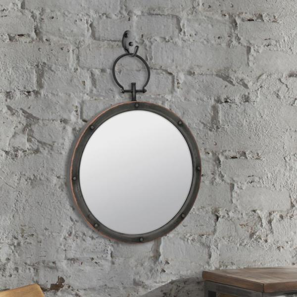 Medium Round Brown American Colonial Mirror (21.063 in. H x 15.748 in. W)