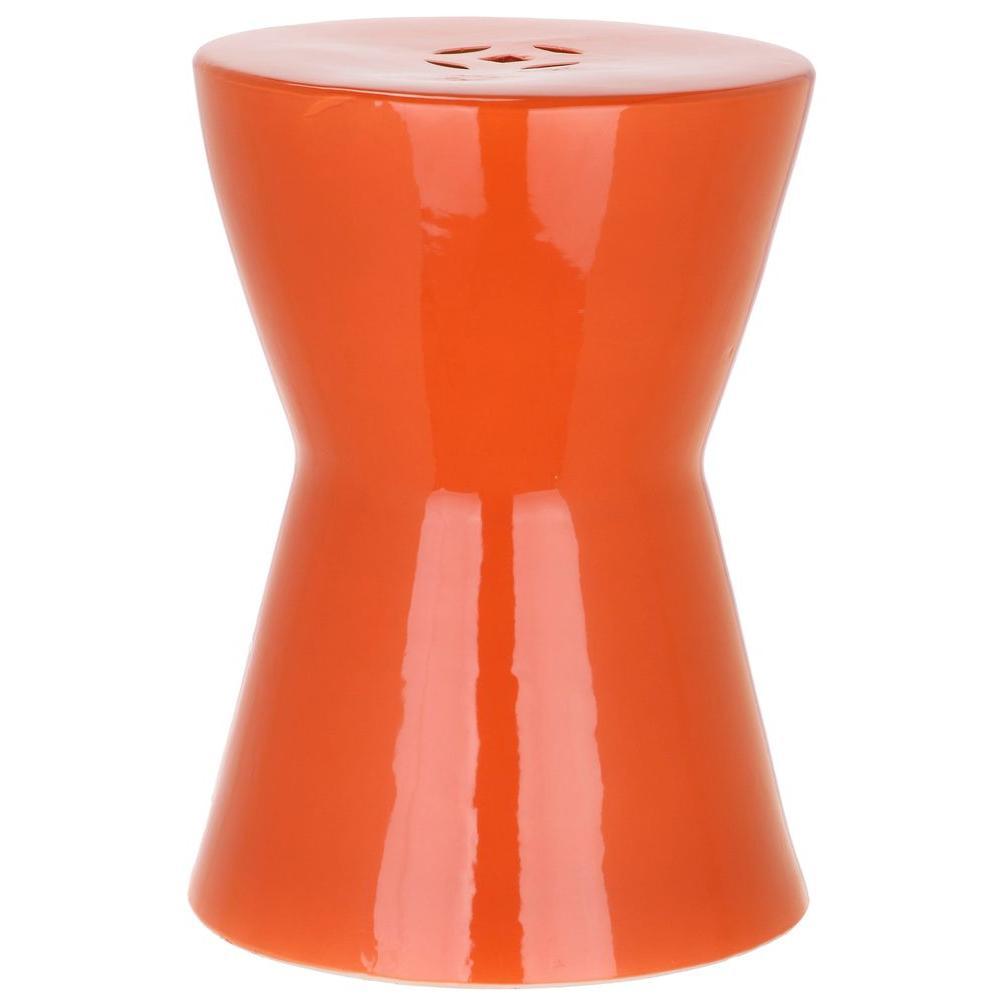 Safavieh Liana Orange Patio Stool