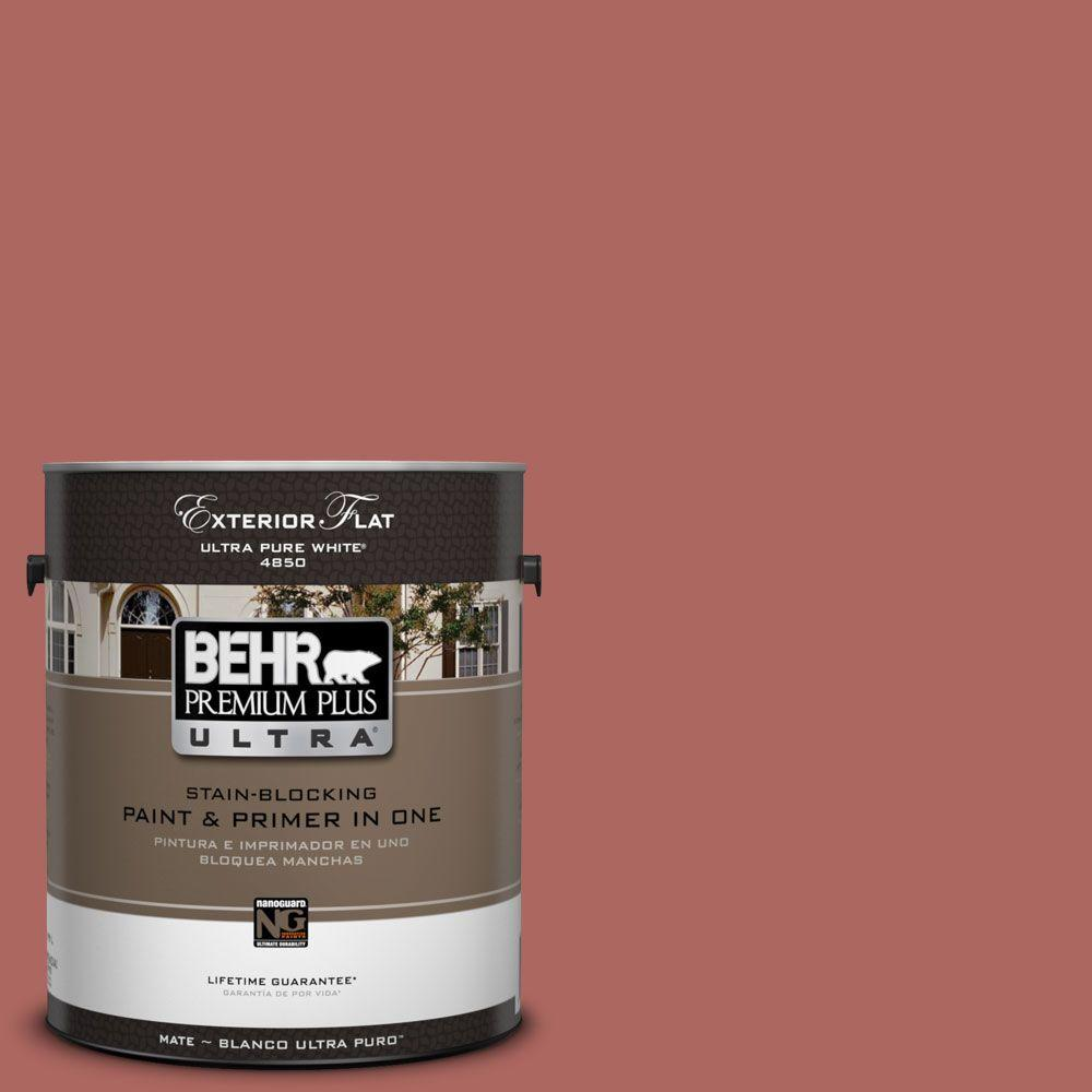 BEHR Premium Plus Ultra 1-Gal. #UL110-9 Colonial Brick Flat Exterior Paint-DISCONTINUED