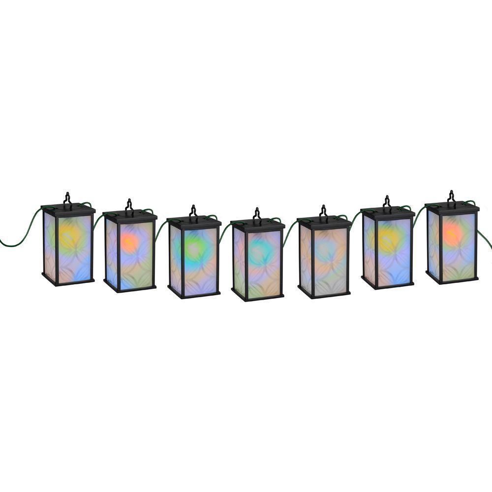 Patio Lights 7-Light Black LED Mosaic Color-Changing String Light