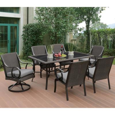 Diso 7-Piece All-Weather Wicker Rectangular Outdoor Dining Set with Beige Cushion