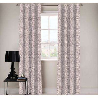 Damask Designer Organic Cotton Drapery Panel in Purple - 50 in. x 96 in.